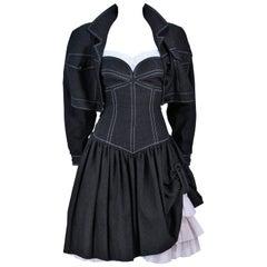 TRAVILLA Black Denim Cocktail Dress with Jacket and White Stitching Size 8 - 10