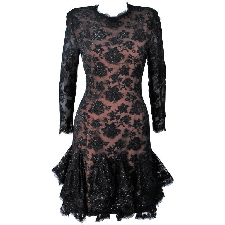 TRAVILLA Black on Black Lace Lame Cocktail Dress with Ruffle Hem Size 8