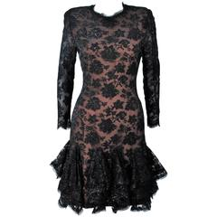 TRAVILLA Black on Black Lace Lame Cocktail Dress with Ruffle Hem Size 8
