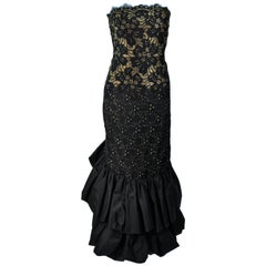 TRAVILLA Black and Gold Lace Gown with Puffed Hem and Scallop Edge Size 6