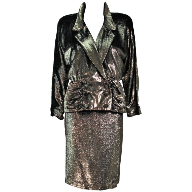 TRAVILLA Gold Velvet Lame Skirt Suit Size 6