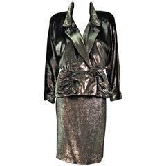 TRAVILLA Gold Velvet Lame Skirt Suit Size 6