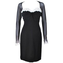TRAVILLA Stretch Daisy Applique Cocktail Dress with Sheer Size 6-8