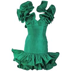 TRAVILLA Attributed Kelly Green Ruffled Cocktail Dress Size 6