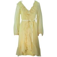 TRAVILLA Yellow Ruffled Chiffon Dress with Billow Sleeves Size 8