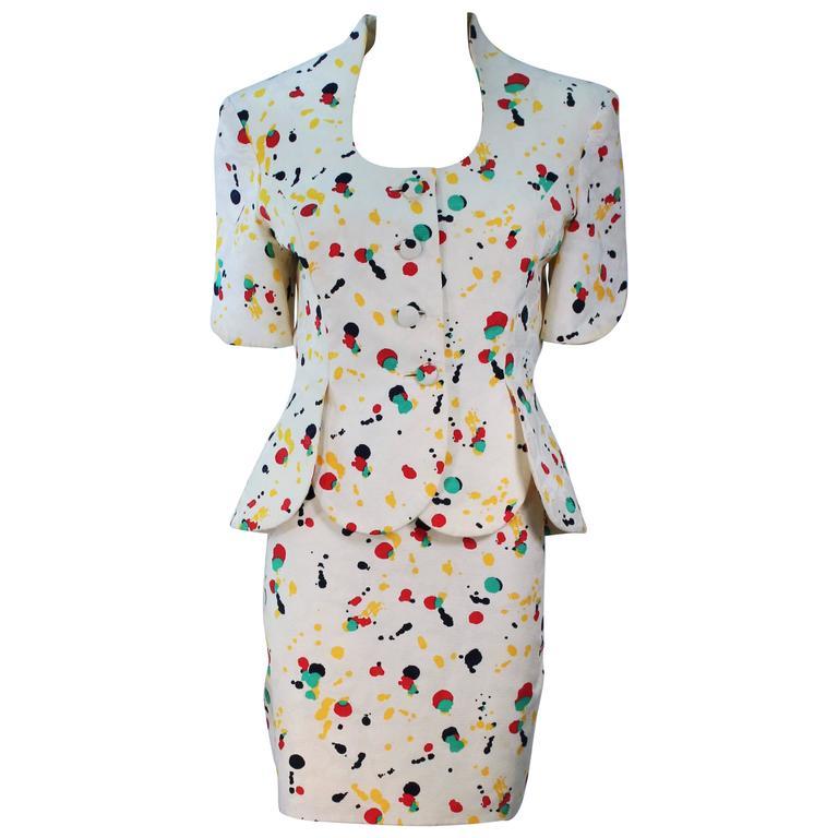 TRAVILLA Color Pop Paint Splatter Floral Skirt Suit Size 6 For Sale