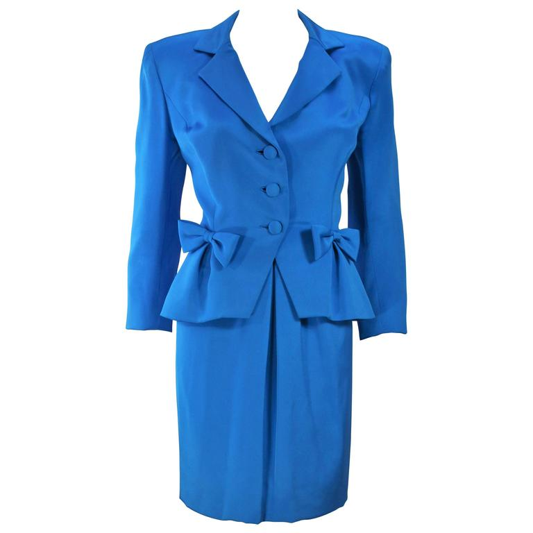 TRAVILLA Blue Silk Skirt Suit with Bows Size 6