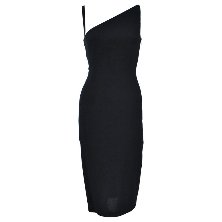 JOHN GALLIANO Black Asymmetrical Cocktail Dress Size 6