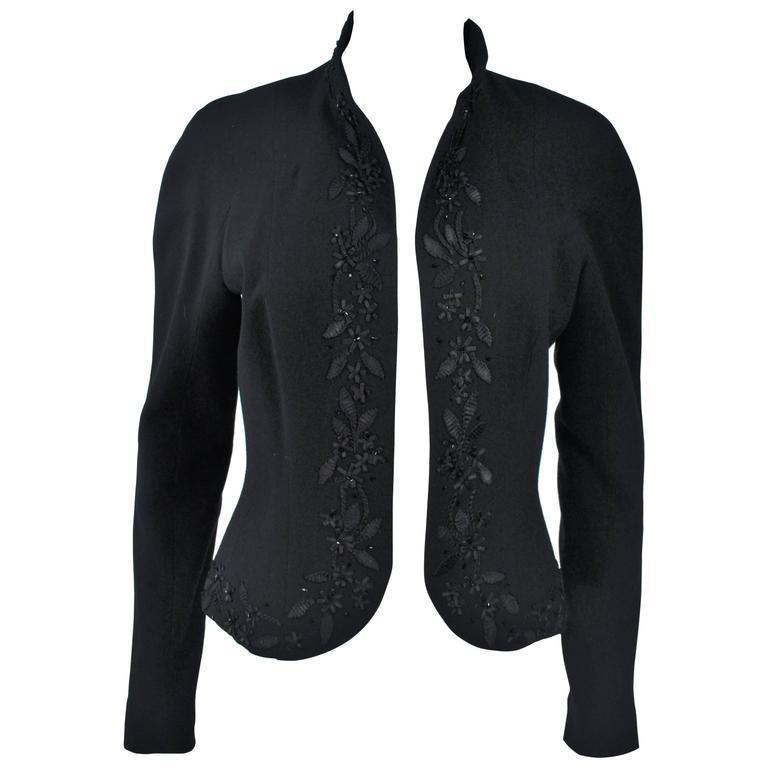 JOHN GALLIANO Black Embellished Jacket Size 6
