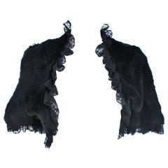 ADRIENNE LANDAU Black Rabbit Fur Bolero with Lace Trim Size 4-6