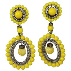 Francoise Montague Yellow Glass Bead Clip Earrings