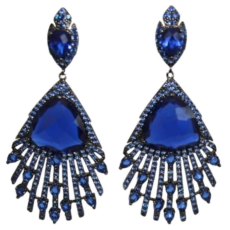 Blue Crystal and Cubic Zirconia Peacock Earrings For Sale