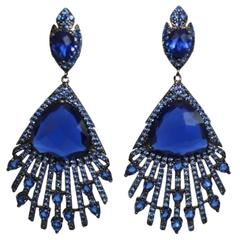 Blue Crystal and Cubic Zirconia Peacock Earrings