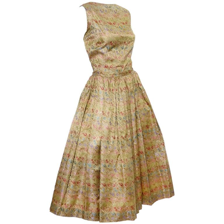 1950s 2 pc Vintage Dress Nelly de Grab New York Gold Brocade Floral Skirt Top