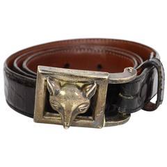 Kieselstein-Cord Black Alligator Skin Belt & Sterling Belt Buckle sz 80