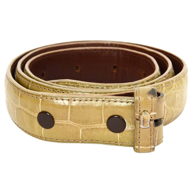 Kieselstein-Cord Beige Alligator Skin Belt Strap sz 85 For Sale