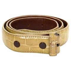 Kieselstein-Cord Beige Alligator Skin Belt Strap sz 85