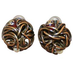 Chanel Woven Goldtone Wire Clip-On Earrings w/ Pearl & Red Gripoix - Circa 1997
