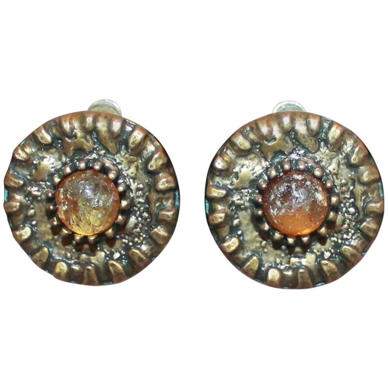 Chanel Dark Goldtone Hammered Round Clip-On Earrings w/ Amber Stone - Circa 1997 For Sale