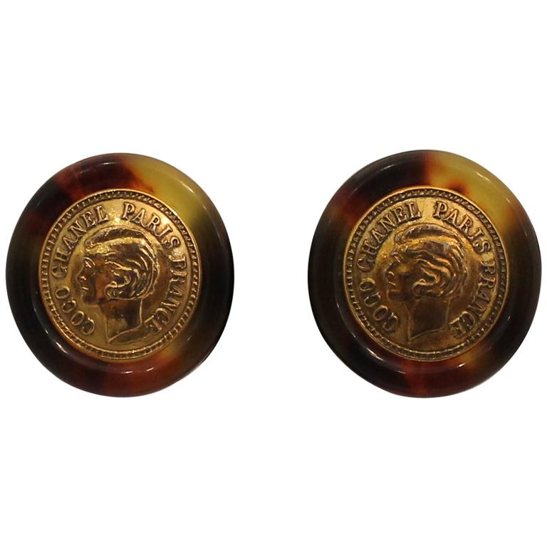 "Chanel Tortoise ""Coco Chanel"" Coin Round Clip-On Earrings - Circa 1997 1"