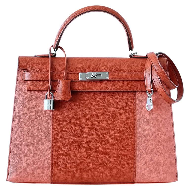 HERMES KELLY 35 Flag Bag Limited Edition Flamingo and Coral Rare 1