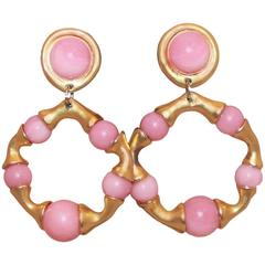 Chanel Goldtone and Pink Gripoix Hoop Clip-On Earrings, Circa 1993