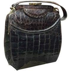 1940s Brown Alligator Handbag