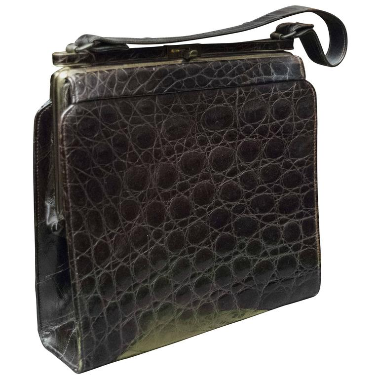 1940s Brown Square Alligator Handbag