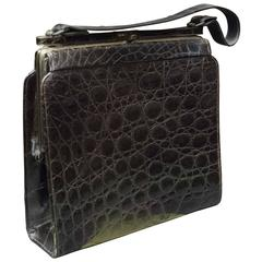 1940s Brown Square Alligator Handbag