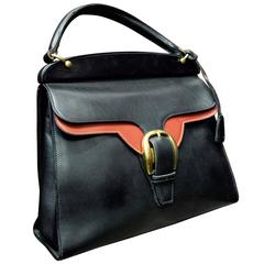 1950s Gucci Black and Red Leather Handbag
