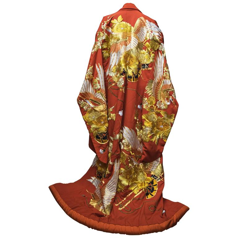 Red and Gold Ceremonial Kimono For Sale