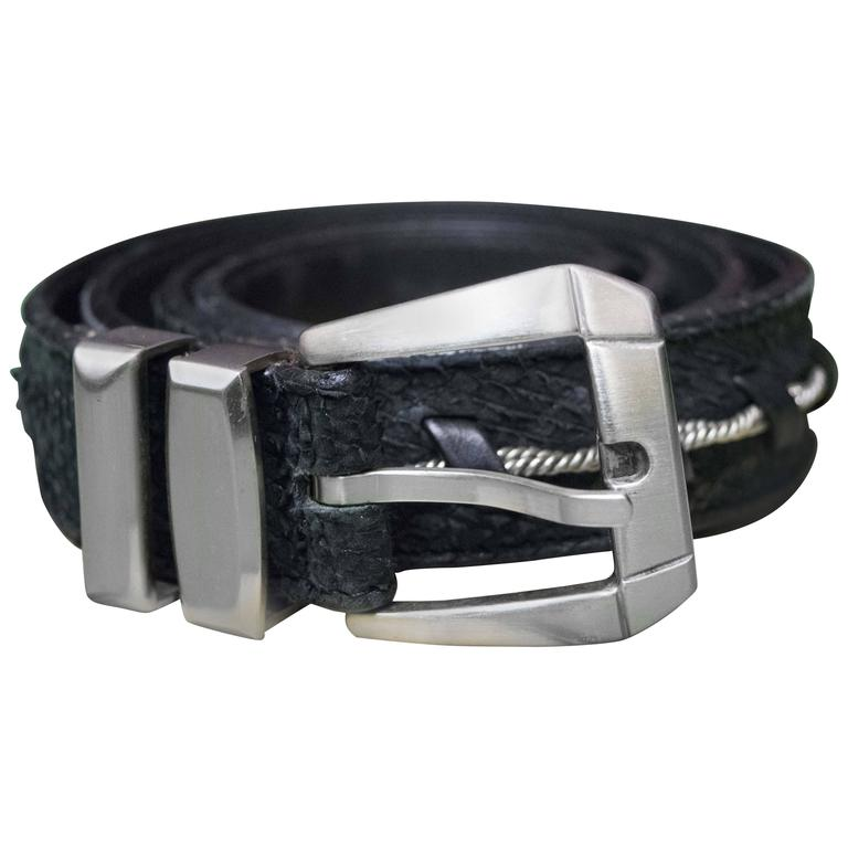 Gianni Versace Faux Snakeskin and Silver Rope Belt