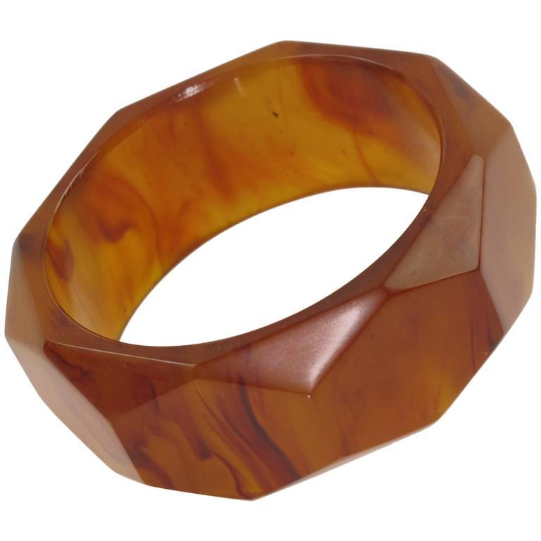 Bakelite Carved Faceted Bracelet Bangle Rootbeer Marble Color 1