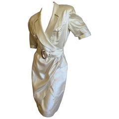 Thierry Mugler 1980's Belted Gold Lurex Dress