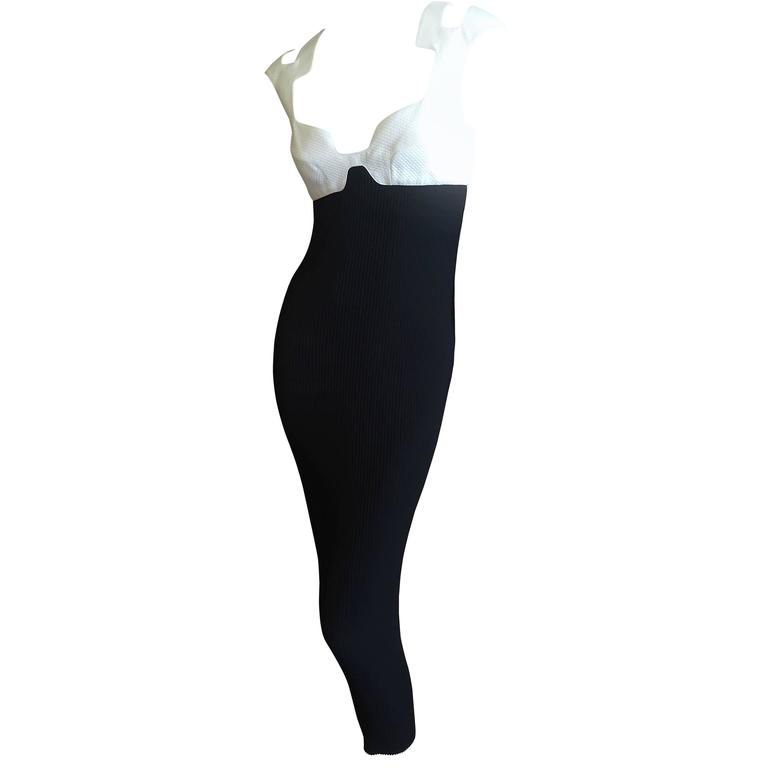 Thierry Mugler 1980's Sexy Low Cut Black & White Dress 1
