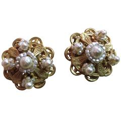 1960s MIRIAM HASKELL Baroque Seed Pearl and Goldtone Filigree Earrings