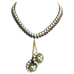 1950s HATTIE CARNEGIE Faux Turquoise Ruby Retro Style Double Ball Drop Necklace