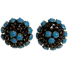 1950s HATTIE CARNEGIE Faux Turquoise and Ruby Retro Style Domed Clip On Earrings