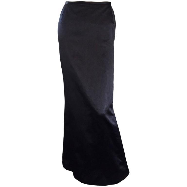 Exceptional Vintage Oscar de la Renta Black Silk Satin Full Length Evening Skirt For Sale