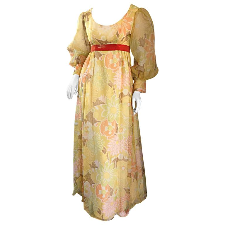 Beautiful 1970s Emma Domb Yellow + Orange Flower Chiffon Long Sleeve Maxi Dress  For Sale