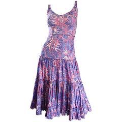 Tracy Feith Purple + Pink ' Starfish ' Print Tie - Dye Cotton Tiered Sun Dress