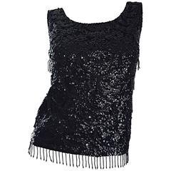 Beautiful 1950s Black Sequin Hand Beaded Wool 50s Vintage Sleeveless Top Blouse