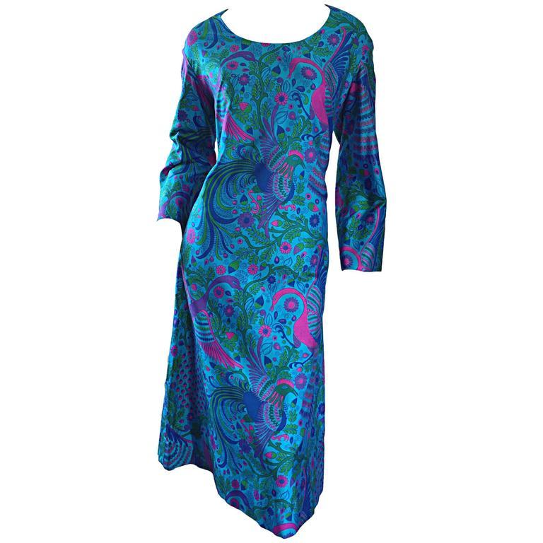 Amazing 1960s 60s Silk Peacock Bird Print Blue A  Line Long Bell Sleeve Dress