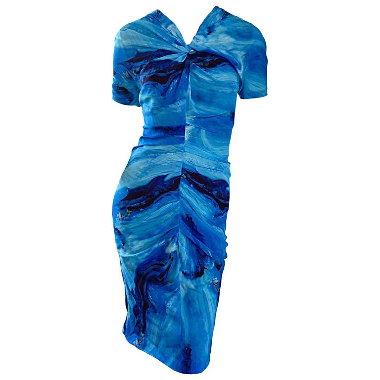 Vera Wang Collection 1990s Rare ' Ocean Wave ' Print 100% Silk 90s Ruched Dress 1