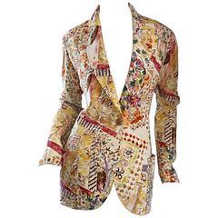 Emanuel Ungaro Vintage ' Garden Print ' Lightweight Silk Floral Blazer Jacket