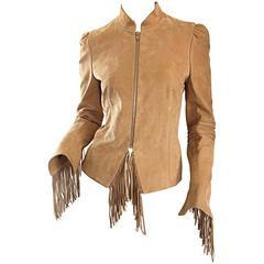 Fantastic Katayone Adeli Tan Butter Soft Leather Fringe Jacket w/ Fringed Back