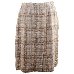 CHANEL BOUTIQUE Vintage Beige Cream Wool Blend PENCIL SKIRT Sz 38 FR AS