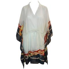 Gucci Ivory Cotton Caftan with Red & Navy Trim and Chain Detail - M