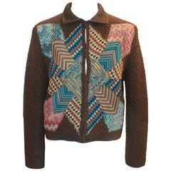 Missoni Collectible Brown Wool Jacket Multi Geometric Patchwork Design - 40