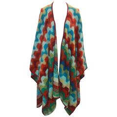 Missoni Multi-Color Geometric Print Kimono w/ Burgundy Trim - OS